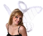 White Net Angel Wings with Marabou Trim and/or Halo