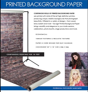 "NEW! PRINTED BACKDROP PAPER 53""x18'  24 designs available"
